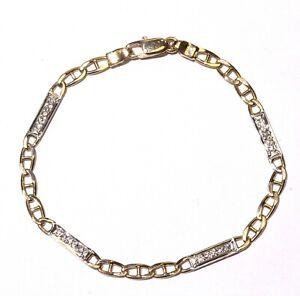 """18k yellow white gold .18ct SI1 G diamond Gucci Bar Link tennis bracelet 6.5g 7"""""""