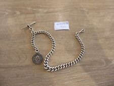 QUALITY ANTIQUE STERLING SILVER SINGLE ALBERT POCKET WATCH CHAIN - WITH FOB