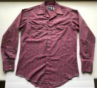 Wrangler Pearl Snap Western Shirt VINTAGE X-Long Tails 16-35 Red Blue Cowboy