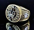 14k Yellow Gold Finish Cross and Crown Mens Masonic Ring Signet Band