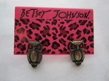 Betsey Johnson Red Eyed Owl Stud Earrings