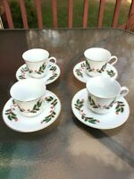 Holly Berry Set of 4 Cups and Saucers Japan Fine Bone China Porcelain Gold Trim