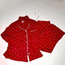 Croft & Barrow Intimates XL 2 Piece Pajama Set Lounge Soft Red White Polka Dots