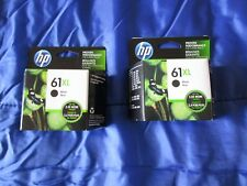 2 HP 61XL HIGH YIELD GENUINE BLACK INK CARTRIDGE LOT, NEW IN BOX exp 2020