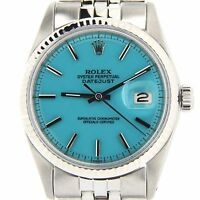 Rolex Datejust Mens Stainless Steel 18K White Gold Watch w/ Turquoise Blue Dial