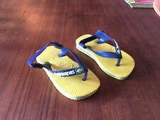 Havaianas yellow blue kids baby toddler shoes flip flops sandal 6.5 C