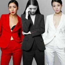 Womens New Suit Jacket V-collar Suits Formal One Button Coat Wide Leg Pants 2PCS