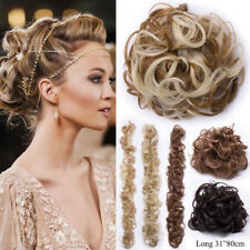 100% Natural Long Chignon Messy Bun Curly Ponytail Wrap Hair Extensions as human