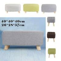 Large Square Pouffe Padded Footstool Sofa Armchair Footrest Ottoman Pine Wood