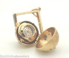 Geneve 14k Yellow Gold Watch Pendant Globe Sapphire Star Charm Necklace