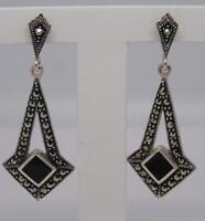 Stunning Deco Style Sterling Silver Onyx & Marcasite Earrings-3.9 Grams