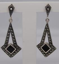 ~Deco Style Sterling Silver Onyx & Marcasite Earrings-3.9 Grams~