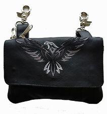 Genuine Leather Belt Bag - Hip Purse - Embroidered Eagle - Gray Silver - Biker