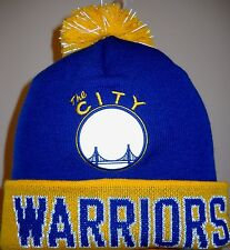 GOLDEN STATE WARRIORS ADULT KNIT HAT CAP W/ EMBROIDERED CITY LOGO & NAME ON CUFF
