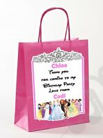 PERSONALISED GIRLS  BIRTHDAY PARTY PAPER GIFT / FAVOUR TOTE BAGS (PRINCESS)
