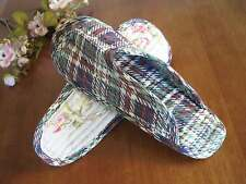 Chic Colorful Check Cotton Quilted Soft Flat Shoes Slippers A54