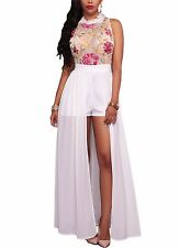White Sheer Embroidered Bodice Open Front Chiffon Romper Maxi Playsuit 64265 M