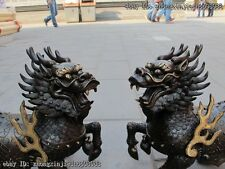 China Pure Bronze Foo Dog Dragon Lion Fire kylin Lucky Brave troops statue Pair