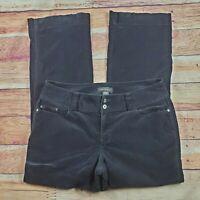 Lane Bryant Corduroy Pants Womens Size 16 Average Solid Black High Waist Stretch