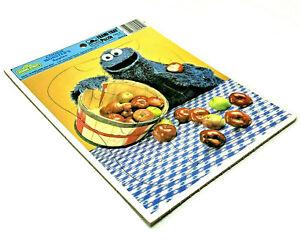 VTG Golden Frame-Tray Puzzle Sesame Street Cookie Monster's Apples 1986 4524D-35