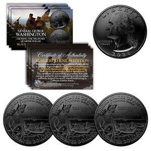 2021 Washington Crossing the Delaware Quarter Genuine Coin BLACK RUTHENIUM QTY 3