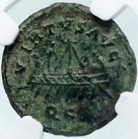 ALLECTUS 293AD Roman BRITAIN Usurper Authentic Ancient Coin w GALLEY NGC i85499