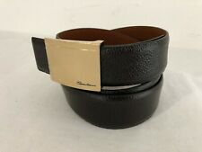 Santoni Italy Mens Pebbled Leather Belt Dark Brown w/Gold Buckle Size 42in/105cm