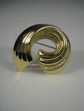 Christian Dior Brooch 1.75 inch Goldtone Signed Swirl Rhinestones Wave Vintage