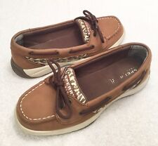 Youth Girls Size 2 M SPERRY TOP-SIDER Laguna Brown Animal Print Boat Oxfords