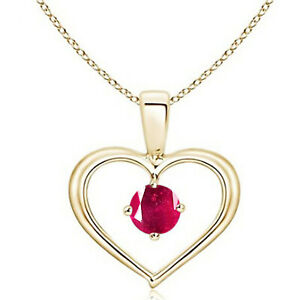 Round Shape 1.00Ct Natural Burmese Red Ruby Solitaire Pendant In 14KT Real Gold