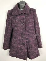 WOMENS PAPAYA PURPLE VIOLET BUTTON UP SMART COAT JACKET WITH COLLAR SIZE 10