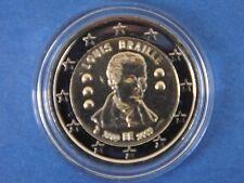 """2 euros commémorative   BELGIQUE   2009  """" LOUIS  BRAILLE   """"  sous capsule  !!!"""