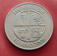 Iceland Error Coin , 10 Kronur 2006 , Extra Alloy On Date , AU - UNC , KM# 29.1a