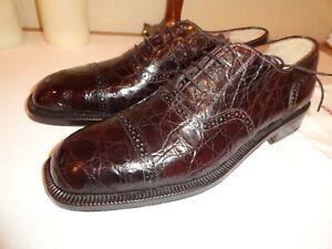 $2900 new hand made in italy genuine crocodile SALVATORE FERRAGAMO BROWN 9 M