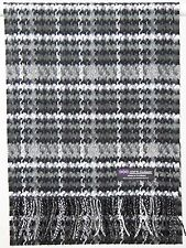 Free Shipping 2PLY 100% Cashmere Scarf Black White Scotland Check Flannel Plaid