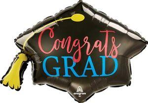"Congrats Grad Graduation Red Blue Giant Balloon 31"""