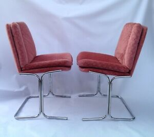 Cantilever PIEFF Eleganza Set of 6  Dining  Chairs 1970s - fabric / chrome