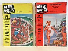 Lot of 2 Vintage Other Worlds Science Fiction Magazines; April & September 1956