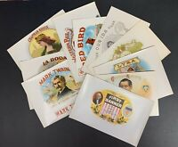 Lot of 10 Different Early Cigar Box Labels, Circa 1920's - 1940's, Unused