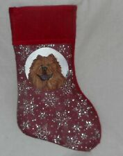Chow Chow Dog Hand Painted Christmas Gift Stocking Holiday Decor