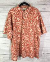 LL Bean Hawaiian Camp Shirt Mens Large Reg Orange Tiki Hut Button Front S/S