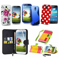 For Samsung Galaxy S4 i9500 i9505 Leather Wallet Flower Gel Case Cover NEW