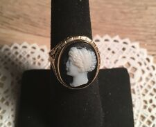 Antique 14K Yg Victorian Carved Agate Cameo Ring With Filigree