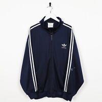 Vintage 80s Adidas Piccolo Logo Pista Giacca Blu Navy Grande L