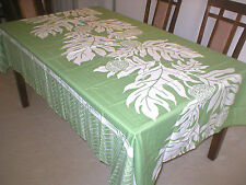 Breadfruit Hawaiian Quilt Print Water Resist Hawaii Tablecloth 60x108 SAGE