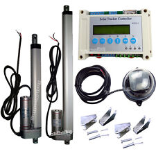 """Solar Tracker Track Dual Axis Kits - 6""""&12"""" 12V Linear Actuator &LCD Controller"""
