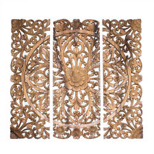 32in 80cm Wood Relief Panel Wall Sculpture carved Lotus FLOWER Bali Indonesia