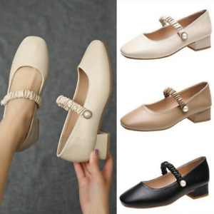 Womens Round Toe Vintage Work Shoes Chunky Heel Mary Jane Office Lady Pumps Size