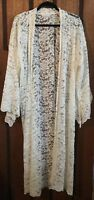 Beautiful Pastel Designs White Lace Maxi Kimono - One Size