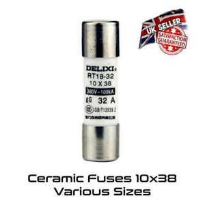 10 x 38 Ceramic Fast Blow Fuse 6 10 16 20 32 Amp *UK Stock*
